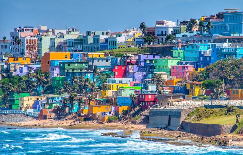 Colorful house line the ocean front in San Juan, Puerto Rico royalty free stock image