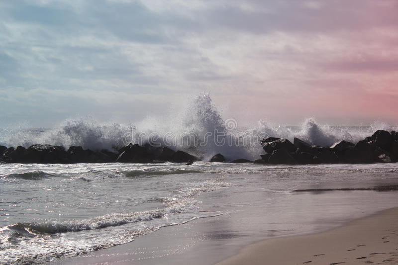 Ocean wave in the Pacific ocean. Stormy ocean waves stock photos