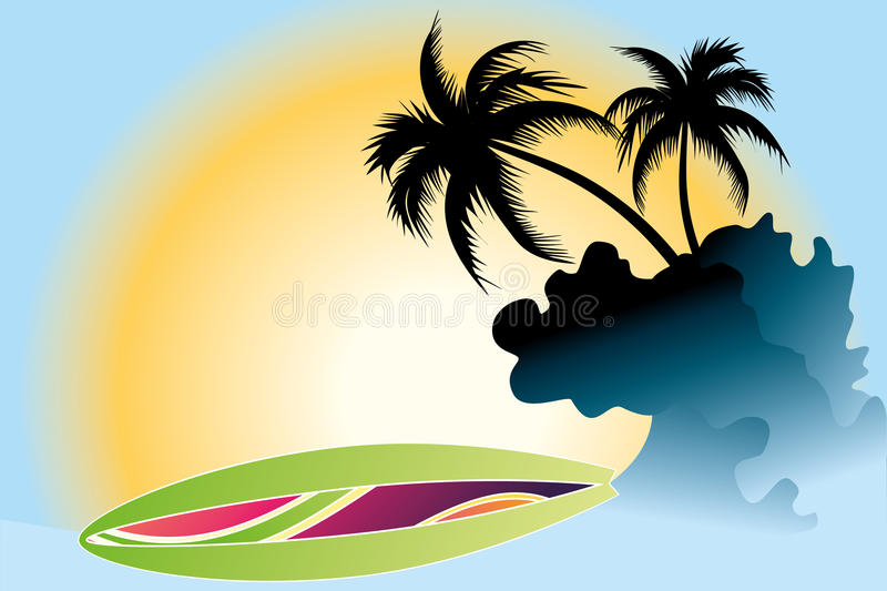 Ocean Wave and Palm Trees. Ocean Wave , surf board and Palm Trees under the sun royalty free illustration
