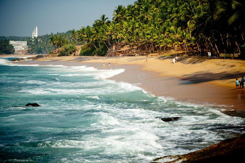 Ocean Wave With Rocky Cliffs And Palm Trees. Big wave and Rocky cliffs on the coast of the Indian ocean Kerala India The wave features brilliant green colors and stock photos