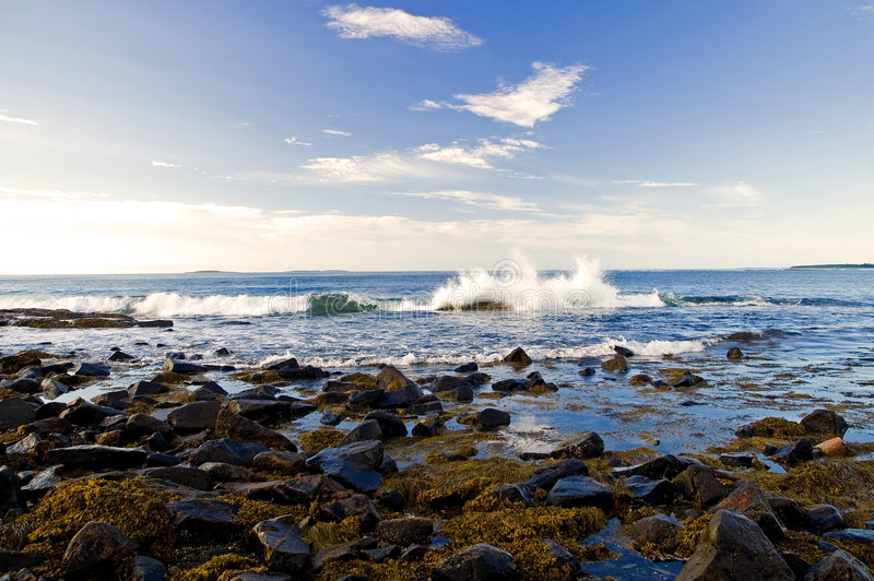 Ocean wave splashing. A view of an ocean wave splashing over rocks on the shore in the early morning sunlight on Mount Desert island, Maine stock image