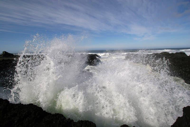 Ocean wave spray. stock images