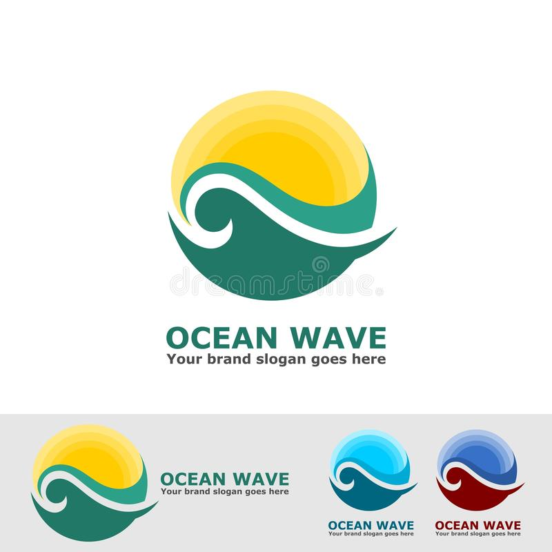 Ocean wave and sun logo royalty free illustration