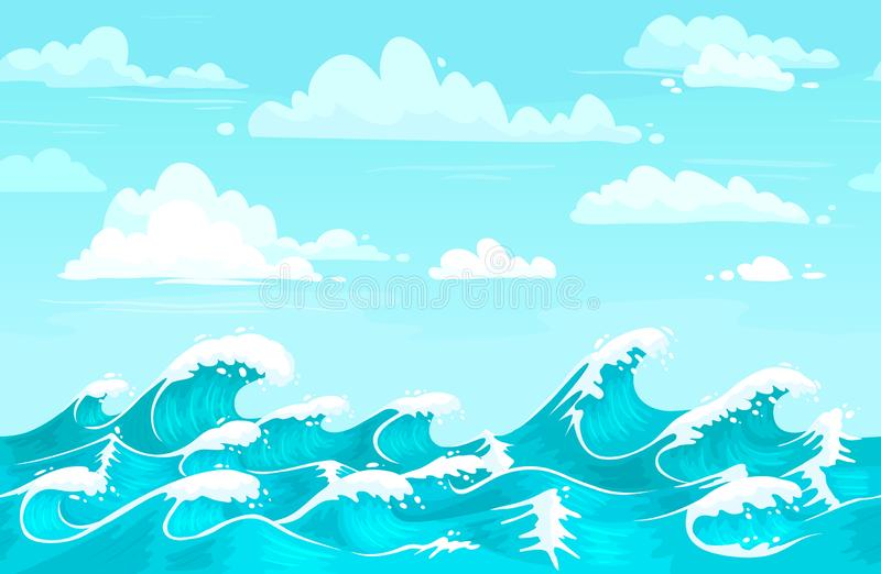 Ocean waves backdrop. Sea water, storm wave and aqua seamless cartoon vector background illustration vector illustration