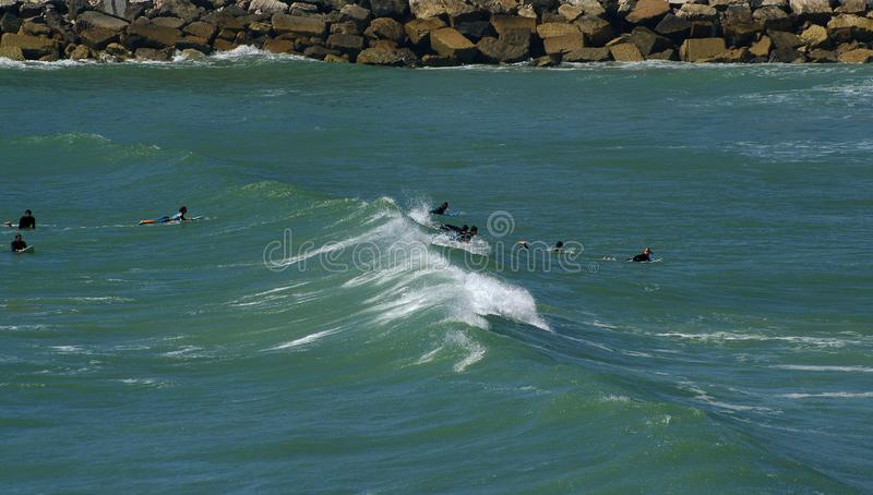 Ocean waves. Coast of Portugal, Ericeira royalty free stock photography