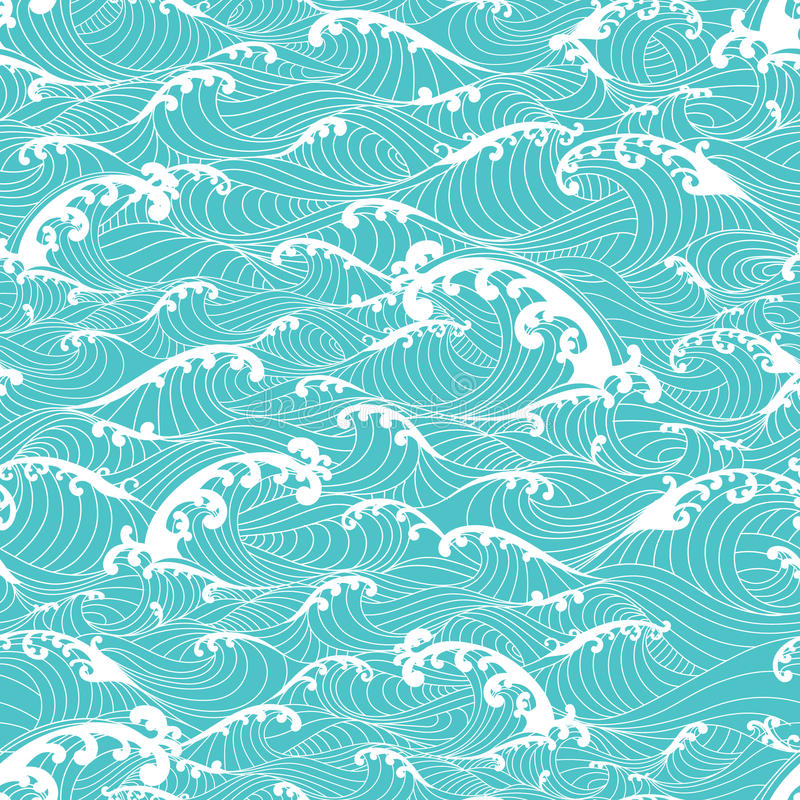 Ocean waves, pattern seamless background hand drawn Asian style stock images