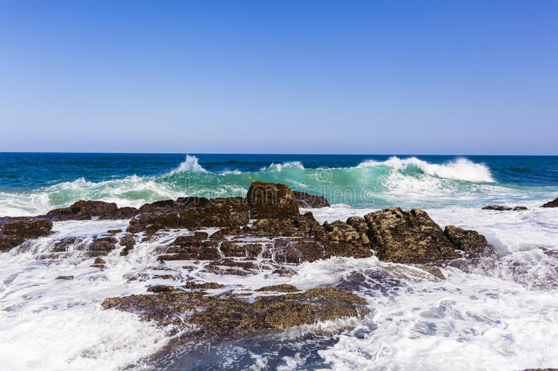 Ocean Waves Rocks royalty free stock photo