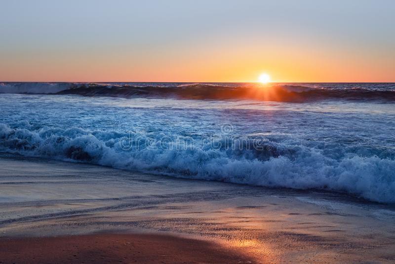 Sunset on the beach, California royalty free stock photo