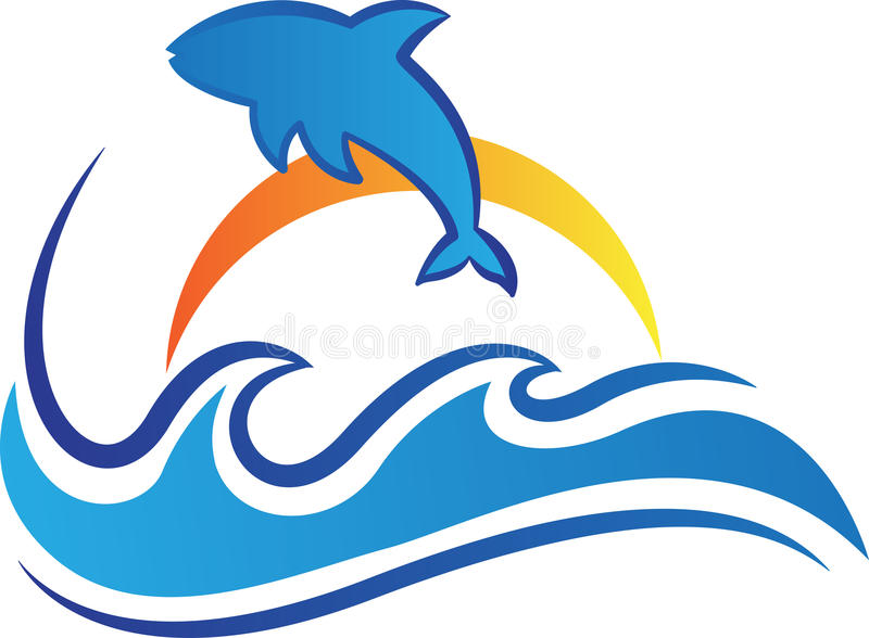 Fish, logo, seafood, restaurant, dolphin, ocean waves symbol vector icon design. Ocean waves fish logo seafood restaurant dolphin jump aquarium symbol vector royalty free illustration