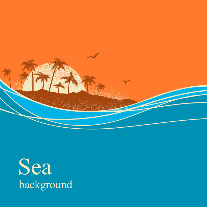 Ocean waves and tropical island.Vector background. Ocean waves and tropical island.Vector horizon background for text stock illustration