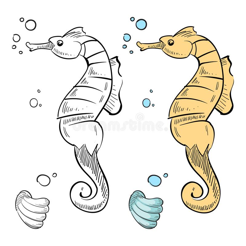 ocean wild life coloring hand drawn sea horse shell ocean wild life coloring page hand drawn sea horse shell isolated