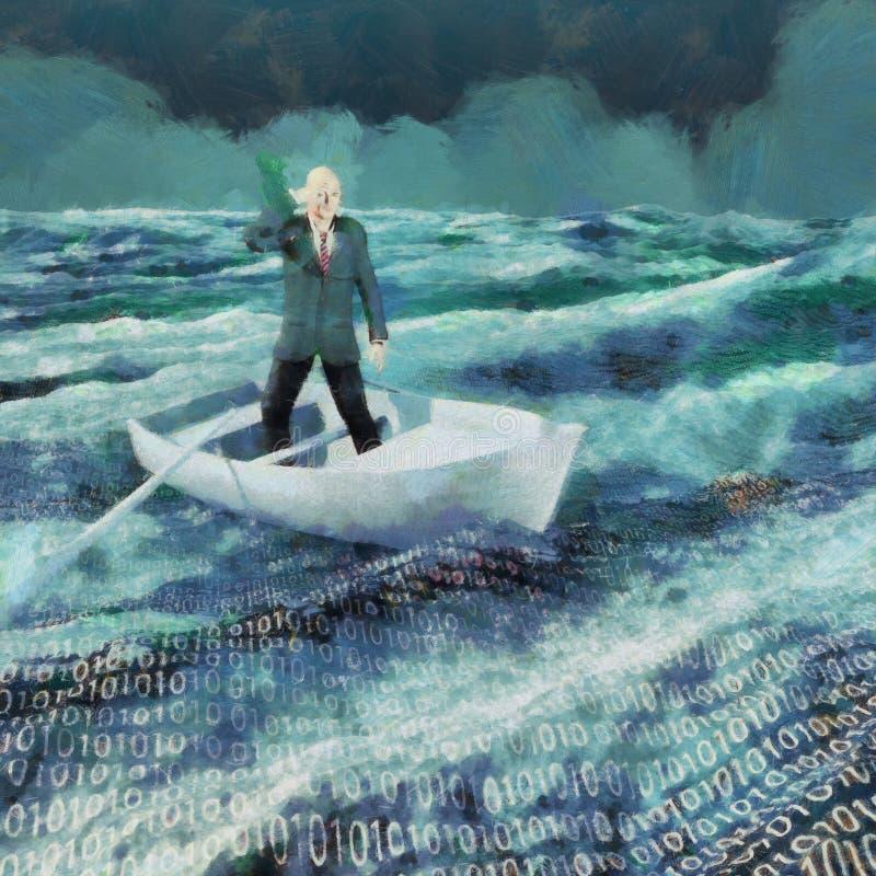 Ocean z binarnym kodem ilustracja wektor