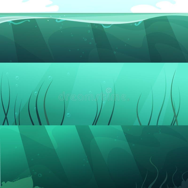 Ocean zieleni wody Horyzontalni sztandary Ustawiający royalty ilustracja