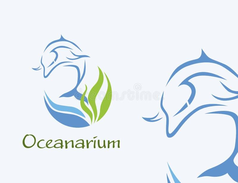 Oceanariumembleem - Dolfijnillustratie in Blauw royalty-vrije illustratie