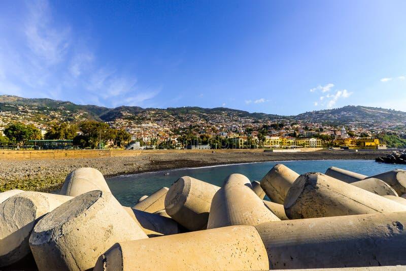 Oceanfront på Funchal - Maderia royaltyfria foton