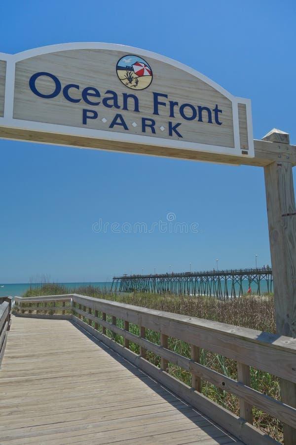 Oceanfronten parkerar tecknet fotografering för bildbyråer
