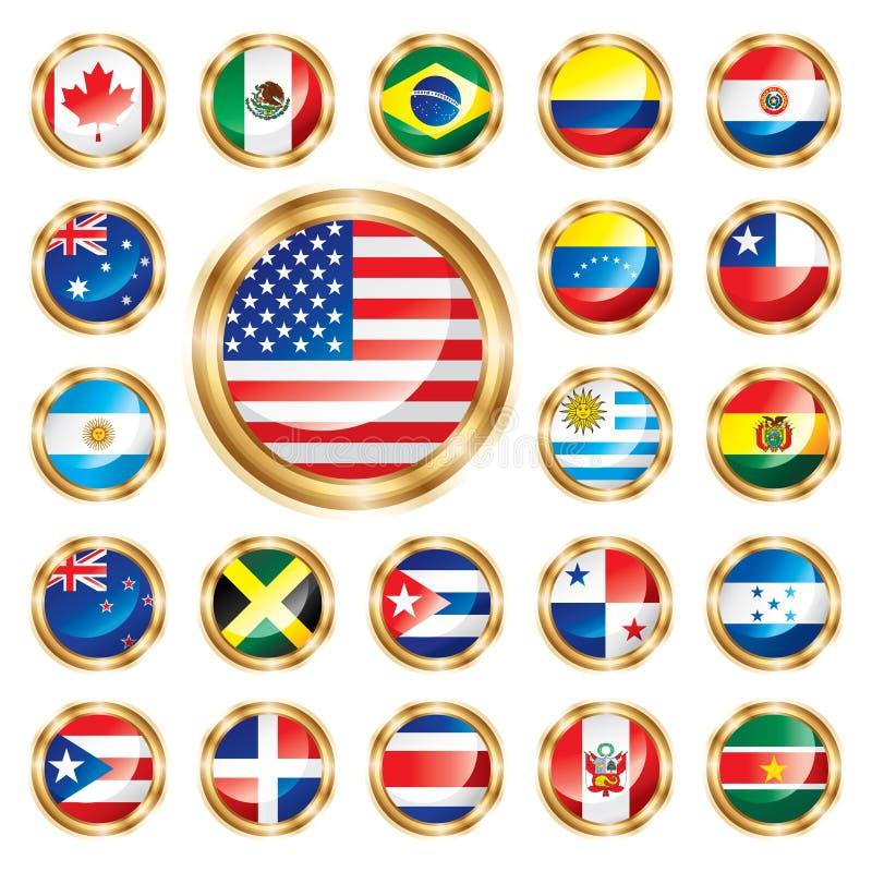 oceania för Amerika knappflaggor set vektor illustrationer