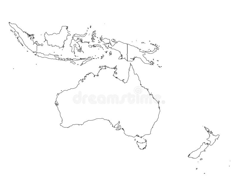 Oceania outline map. Vector illustration of oceania as blank map with borders of states