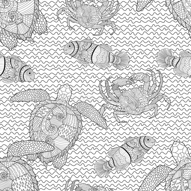 Oceanic animals zentangle seamless pattern stock vector for Zentangle tile template