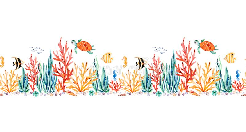 Oceanic creature seamless repeat border with cute turtle. Seaweed,coral reef,fishes,seahorse etc.Underwater creature.Perfect for invitations,party decorations royalty free illustration