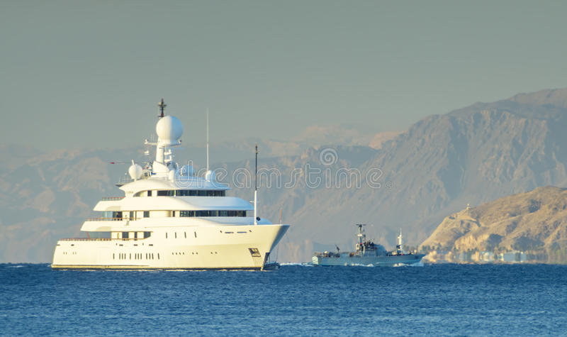 Oceanic motor yacht moored near Eilat, Israel. Eilat is a famous city with beautiful beaches, big marina and numerous water sport and recreational facilities stock photography