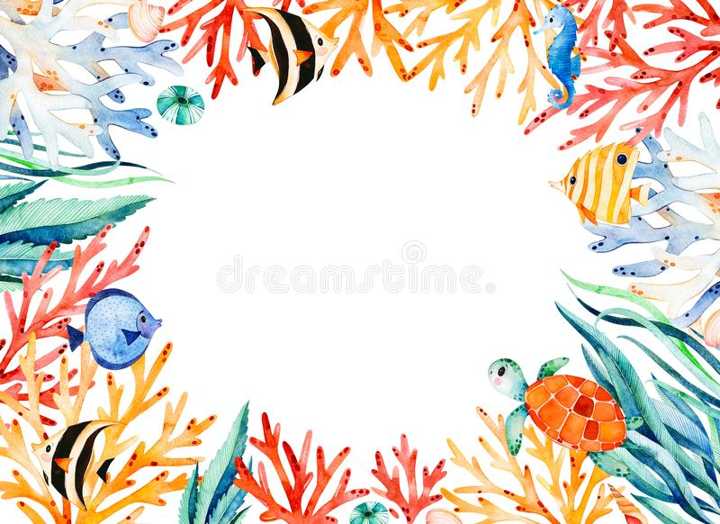 Oceanic watercolor frame border with cute turtle,seaweed,coral reef,fishes,seahorse. Etc.Underwater creature.Perfect for invitations,party decorations,printable stock illustration