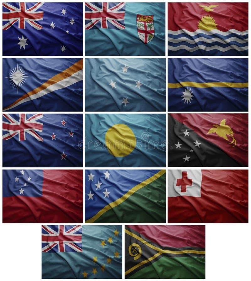 Oceanien för flaggor allra länder, collage vektor illustrationer