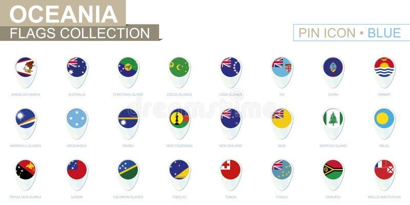 Oceanien flaggasamling Stor uppsättning av den blåa stiftsymbolen med flaggor royaltyfri illustrationer