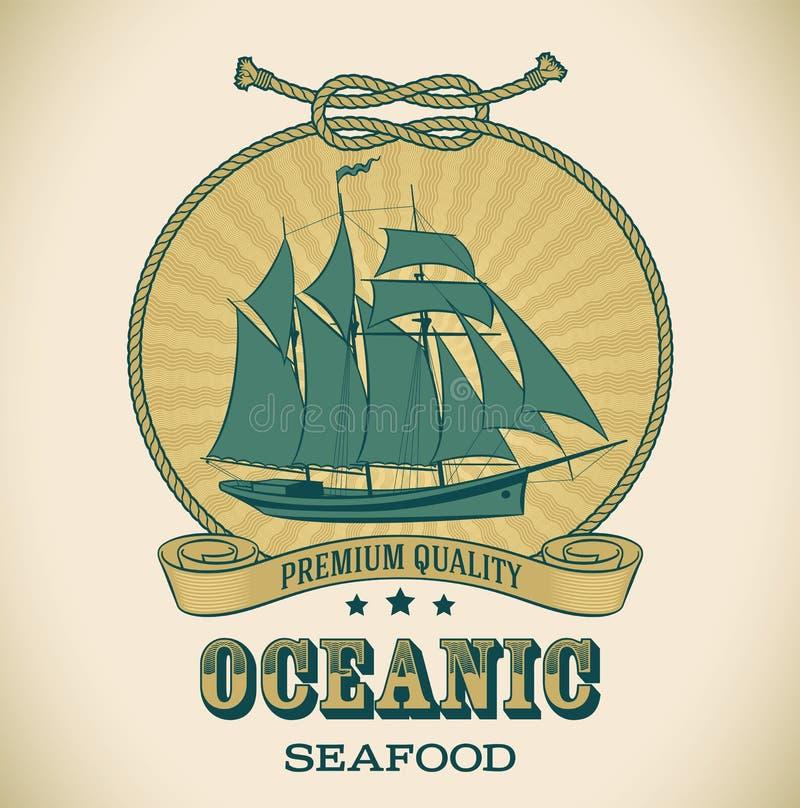 Oceanisk tappningetikett - royaltyfri illustrationer