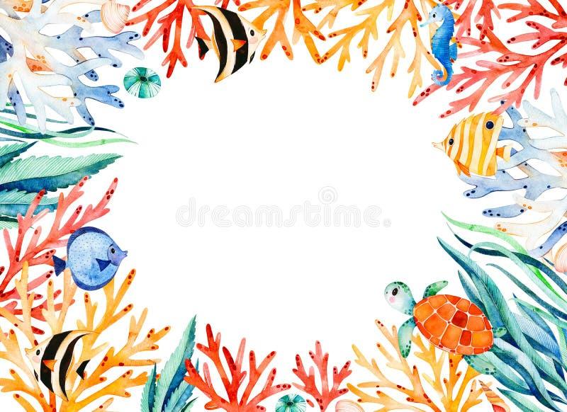 Oceanisk vattenfärgramgräns med den gulliga sköldpaddan, havsväxt, korallrev, fiskar, seahorse stock illustrationer
