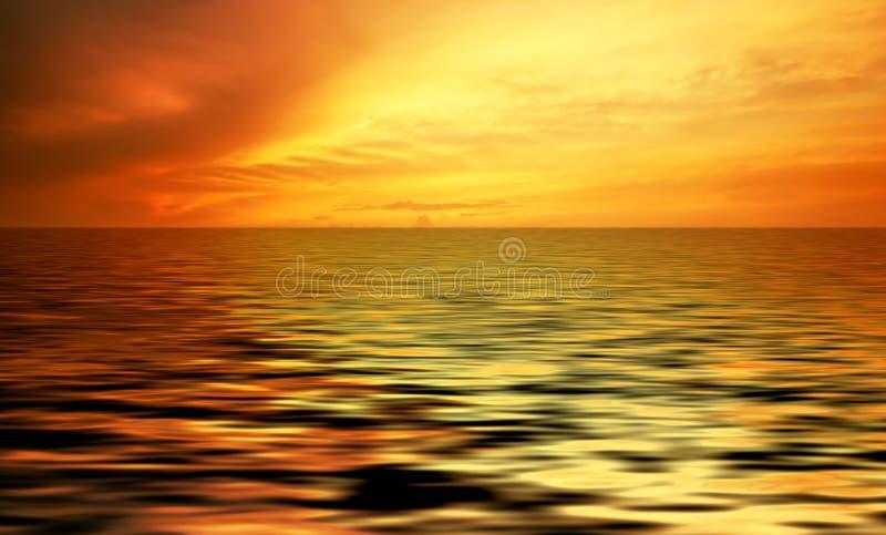 Oceano abstrato e por do sol imagens de stock
