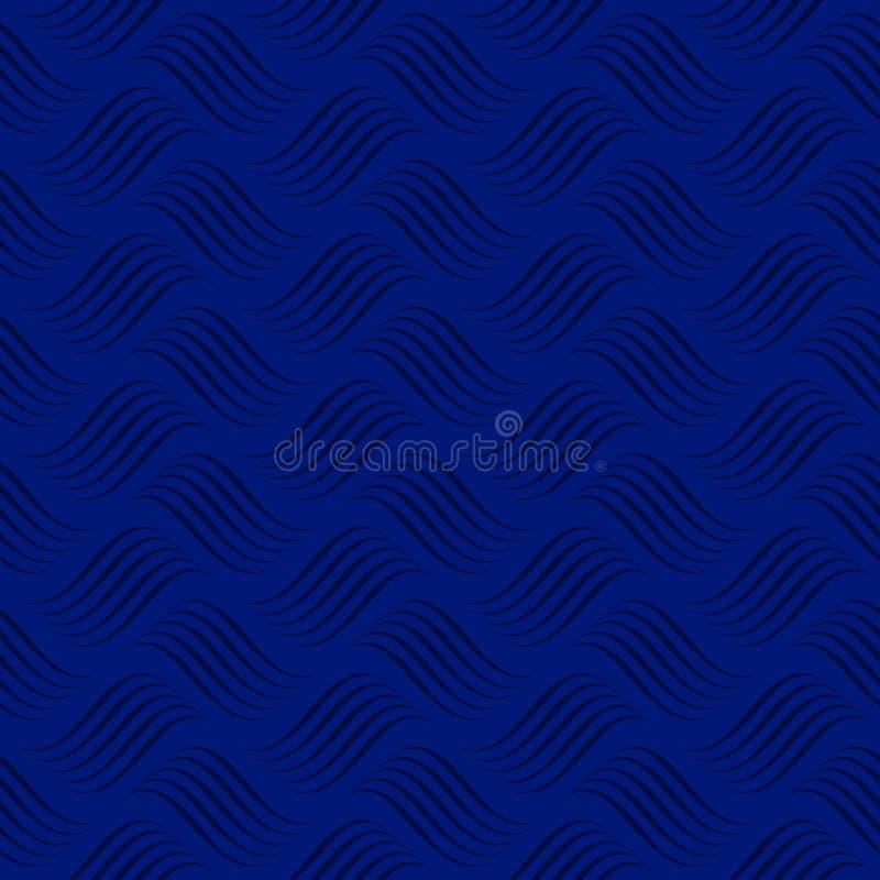 Oceano astratto Fondo blu scuro con le onde illustrazione vettoriale