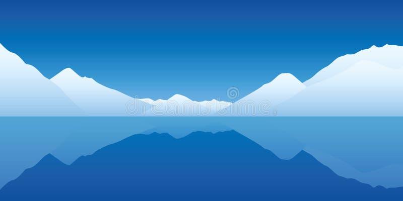Oceano blu freddo del paesaggio dell'iceberg illustrazione vettoriale