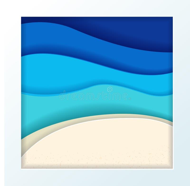 Oceano de turquesa azul abstrata e fundo maldivos do verão da praia com ondas de papel e inclinação tropical do mar do seacoast t ilustração royalty free