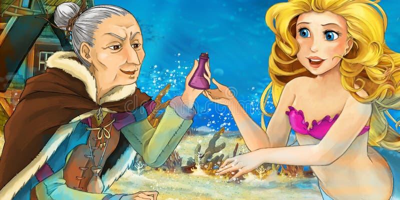 Oceano del fumetto e la sirena che parla con donna anziana illustrazione vettoriale