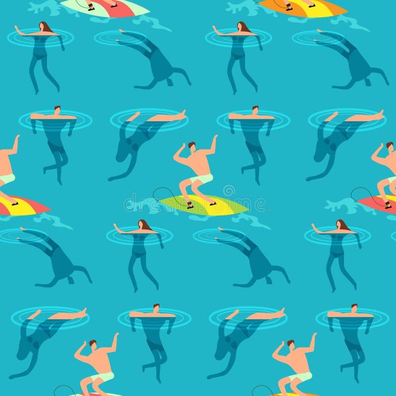 Oceano di nuoto e d'immersione della gente Ora legale sul modello senza cuciture d'annata esotico di vettore della spiaggia illustrazione vettoriale