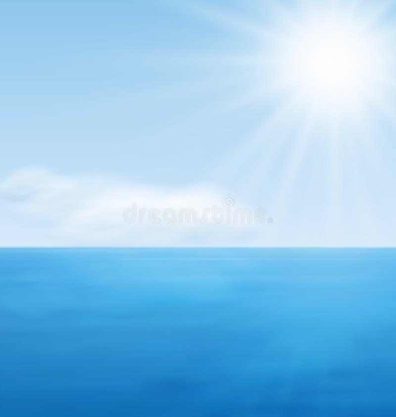 Oceano do azul da calma da paisagem do mar ilustração royalty free