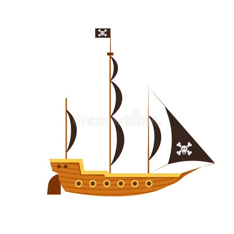 Oceano do barco da ilustração do mar do vetor da opinião lateral de navio de pirata Ícone antigo liso isolado da bandeira do crân ilustração stock