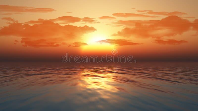 Oceano do por do sol ilustração do vetor