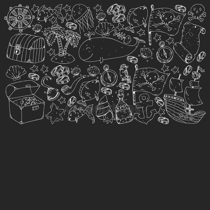 Oceano e mare per i bambini Reticolo per i ragazzi Partito del pirata Pesci svegli, animali, tesori Modello di vacanza dei bambin illustrazione di stock