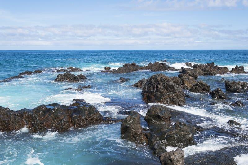 Oceano e ondas E paisagem bonita das Ilhas Can?rias imagem de stock