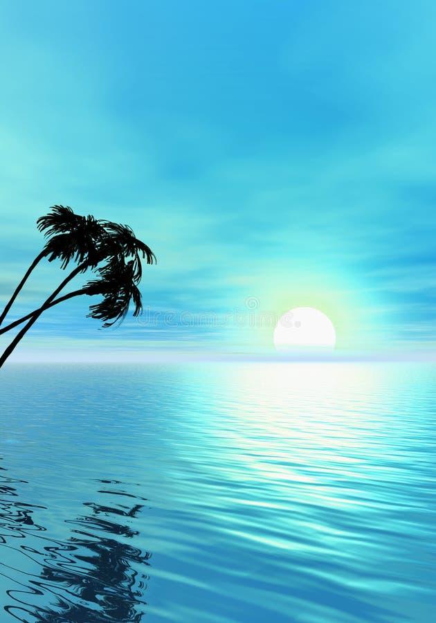Oceano e palmeira ilustração stock