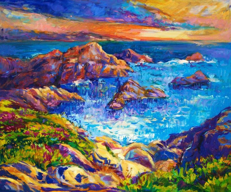Oceano e penhascos ilustração stock