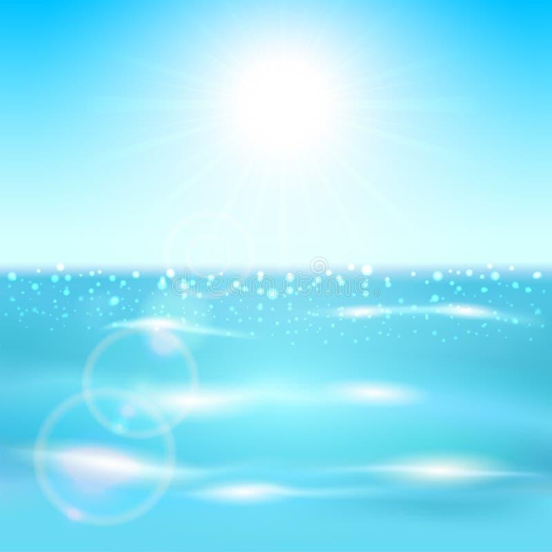 Oceano e sole royalty illustrazione gratis