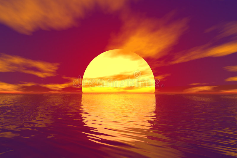 Oceano e tramonto illustrazione vettoriale