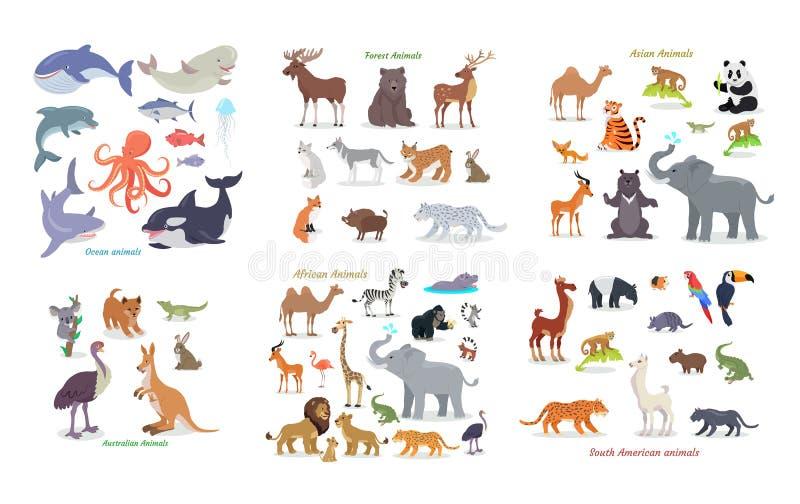 Oceano, floresta, asiático, australiano, africano, animais ilustração do vetor