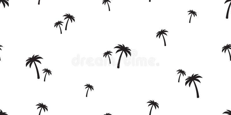 Oceano isolado do papel de parede da repetição do fundo da telha da praia do verão da ilha da árvore de coco do teste padrão da p ilustração stock