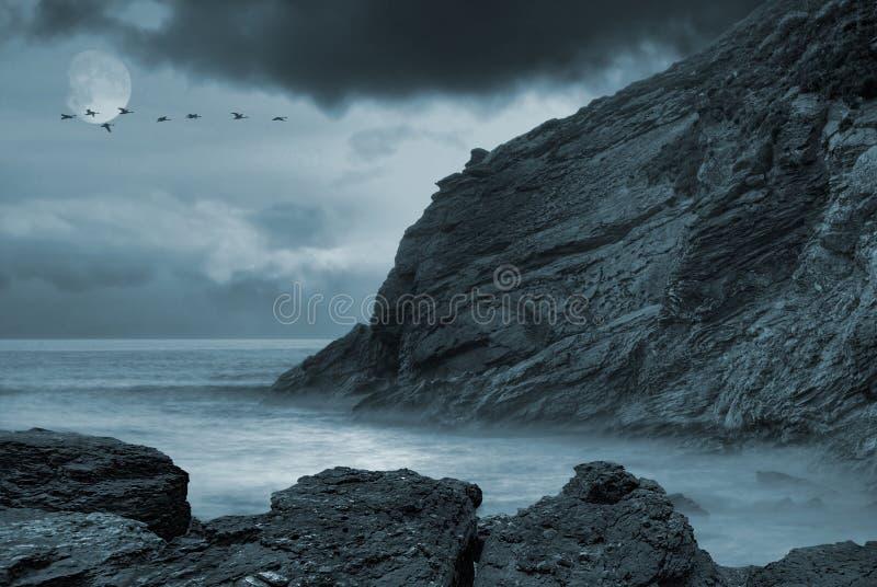 Oceano Moonlit imagens de stock