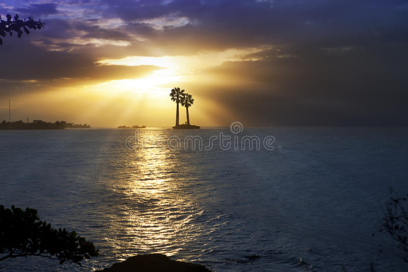 Oceano no por do sol polynesia tahiti imagem de stock royalty free