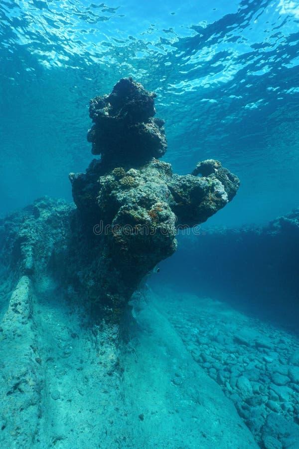 Oceano Pacífico subaquático natural da formação de rocha imagens de stock